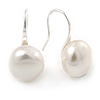 10mm Bridal/ Wedding Lustrous White Off-Round Freshwater Pearl Earrings In Silver Tone - 20mm L