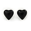 Small Black Acrylic Heart Stud Earrings In Silver Tone - 10mm L