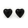 Small Black Acrylic Heart Stud Earrings In Silver Tone - 10mm L