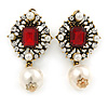Vintage Inspired Clear/ Red Crystal, Pearl Clip On Earrings In Antique Gold Tone - 45mm L