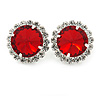 Ruby Red/ Clear Jewelled Round Clip On Earrings In Silver Tone - 20mm D