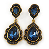 Vintage Inspired Midnight Blue Glass Crystal Bead Teardrop Earrings In Antique Gold Tone - 50mm L