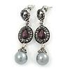 Marcasite Purple/ Grey Crystal Pearl Drop Earrings In Antique Silver Tone - 45mm L
