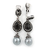 Marcasite Black/ Grey Crystal Pearl Clip On Earrings In Antique Silver Tone - 45mm L