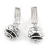 Silver Tone Wire Ball with Black Crystal Drop Earrings - 35mm L