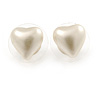 Small Cream Acrylic Heart Stud Earrings In Gold Tone - 10mm L