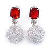 Light Silver Tone Wire Ball with Red Acrylic Bead Drop Earrings - 35mm L