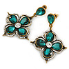 Vintage Inspired Emerald Green/ Clear Flower Drop Earrings In Antique Gold Tone - 50mm L