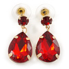 Red Acrylic Teardrop Earrings In Gold Tone - 30mm L