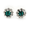 Small Emerald Green/ Clear Diamante Stud Earrings In Silver Finish - 10mm D
