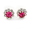 Small Fuchsia/ Clear Diamante Stud Earrings In Silver Finish - 10mm D