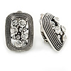 Vintage Inspired Clear Crystal Rectangular Clip On Earrings In Antique Silver - 25mm L