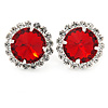 Siam Red/ Clear Round Cut Acrylic Bead Stud Earrings In Silver Tone - 20mm D