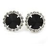 Jet Black/ Clear Round Cut Acrylic Bead Stud Earrings In Silver Tone - 20mm D
