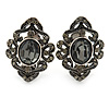 Marcasite Grey Crystal Clip On Earrings In Antique Silver Tone - 28mm L