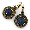 Vintage Inspired Round Cut Midnight Blue Glass Stone/ Grey Crystal Drop Earrings With Leverback Closure In Antique Gold Metal - 40mm L