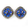 Vintage Inspired Sapphire Blue Crystal Square Clip On Earrings In Antique Silver - 25mm L
