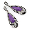 Antique Silver, Hematite Crystal, Purple Acrylic Stone Teardrop Earrings - 50mm L