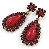 Wine Red Resin Stone, Dark Red Crystal Teardrop Earrings In Gold Tone - 45mm L