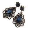 Victorian Style Filigree Montana Blue Glass, Crystal Drop Earrings In Antique Silver Tone - 50mm L