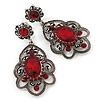 Victorian Style Filigree Ruby Red Glass, Crystal Drop Earrings In Antique Silver Tone - 50mm L