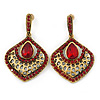 Vintage Inspired Burgundy Red Crystal, Filigree Teardrop Earrings In Antique Gold Tone - 45mm L