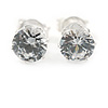 6mm Clear CZ Round Cut Stud Earrings In Rhodium Plating