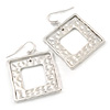 Light Silver Tone Hammered Square Double Frame Earrings - 45mm L