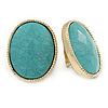 Large Oval Turquoise Style Acrylic Clip On Earrings In Gold Tone - 30mm L