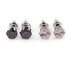 5mm Set of 2 Amethyst and Pink Cz Round Cut Stud Earrings In Rhodium Plating
