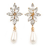 Bridal/ Prom/ Wedding Clear Crystal Faux Pearl Drop Clip On Earrings In Gold Tone - 50mm L