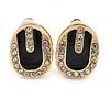 Oval Black Enamel Diamante Clip On Earrings In Gold Plated Metal - 17mm L