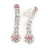 Light Pink/ Clear Crystal Teardrop Clip On Earrings In Silver Tone - 45mm L