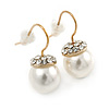 Pearl Style Clear Crystal Drop Earrings In Gold Tone - 20mm L