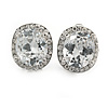Clear Crystal Cz Oval Clip On Earrings In Silver Plating - 15mm