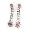 Long Teardrop Clear/ Pink Crystal Drop Earrings In Silver Tone - 45mm L