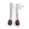 Purple/ Clear Crystal Teardrop Clip On Earrings In Silver Tone - 40mm L