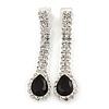 Black/ Clear Crystal Teardrop Clip On Earrings In Silver Tone - 40mm L