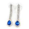 Bridal/ Prom/ Wedding Clear/ Sapphire Blue Crystal Teardrop Earrings In Silver Tone Metal - 40mm L