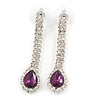 Bridal/ Prom/ Wedding Clear/ Amethyst Crystal Teardrop Earrings In Silver Tone Metal - 40mm L