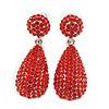 Bridal, Prom, Wedding Pave Bright Red Austrian Crystal Teardrop Earrings In Rhodium Plating - 48mm L