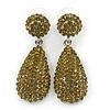 Bridal, Prom, Wedding Pave Olive Green Austrian Crystal Teardrop Earrings In Rhodium Plating - 48mm L