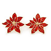 Christmas Bright Red Enamel Poinsettia Holiday Stud Earrings In Gold Tone - 25mm