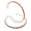 Large Topaz Austrian Crystal Hoop Earrings In Rhodium Plating - 6cm D