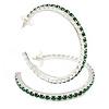 Large Emerald Green Austrian Crystal Hoop Earrings In Rhodium Plating - 6cm D