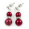 9mm Wine Red Glass Pearl Bead With Crystal Ring Drop Earrings In Silver Tone - 30mm