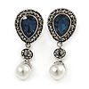 Vintage Inspired Midnight Blue/ Hematite Crystal with White Pearl Teardrop Earrings In Silver Tone - 50mm L