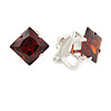 8mm Burgundy Red Cz Square Clip On Earrings In Rhodium Plating