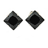 8mm Black Cz Square Clip On Earrings In Rhodium Plating