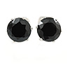 8mm Black Round Cut Cz Clip On Earrings In Rhodium Plating